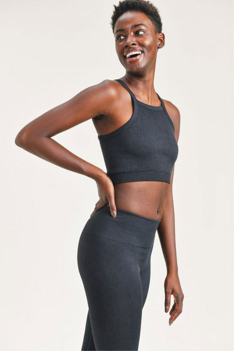 Square Front Ribbed Cropped Tank Top black side MILK MONEY
