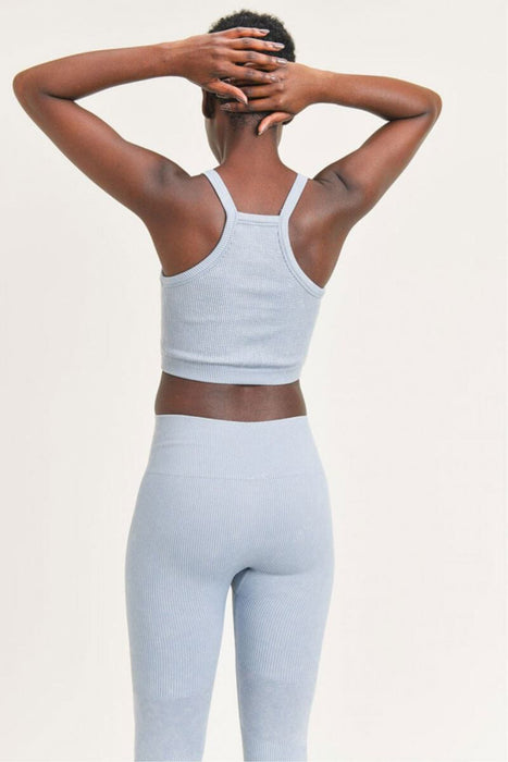 Square Front Ribbed Cropped Tank Top ocean back MILK MONEY