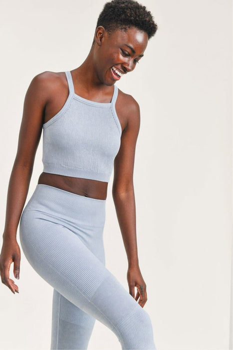 Square Front Ribbed Cropped Tank Top ocean front MILK MONEY