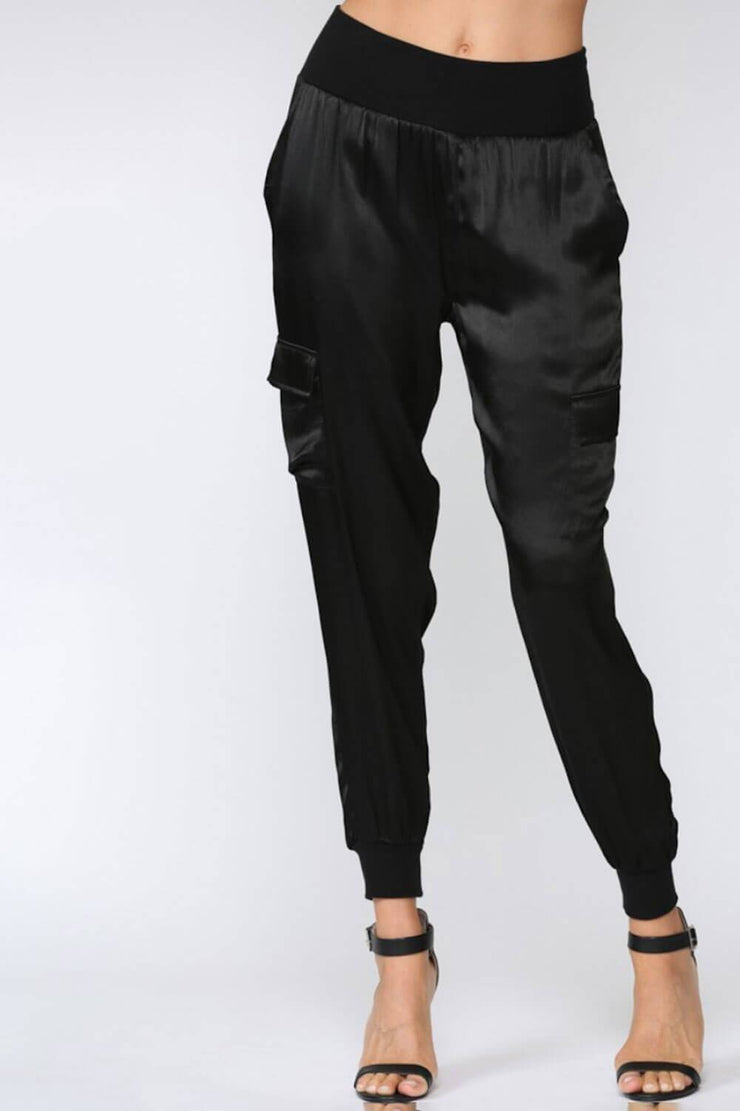 Stain Cargo Joggers black front MILK MONEY