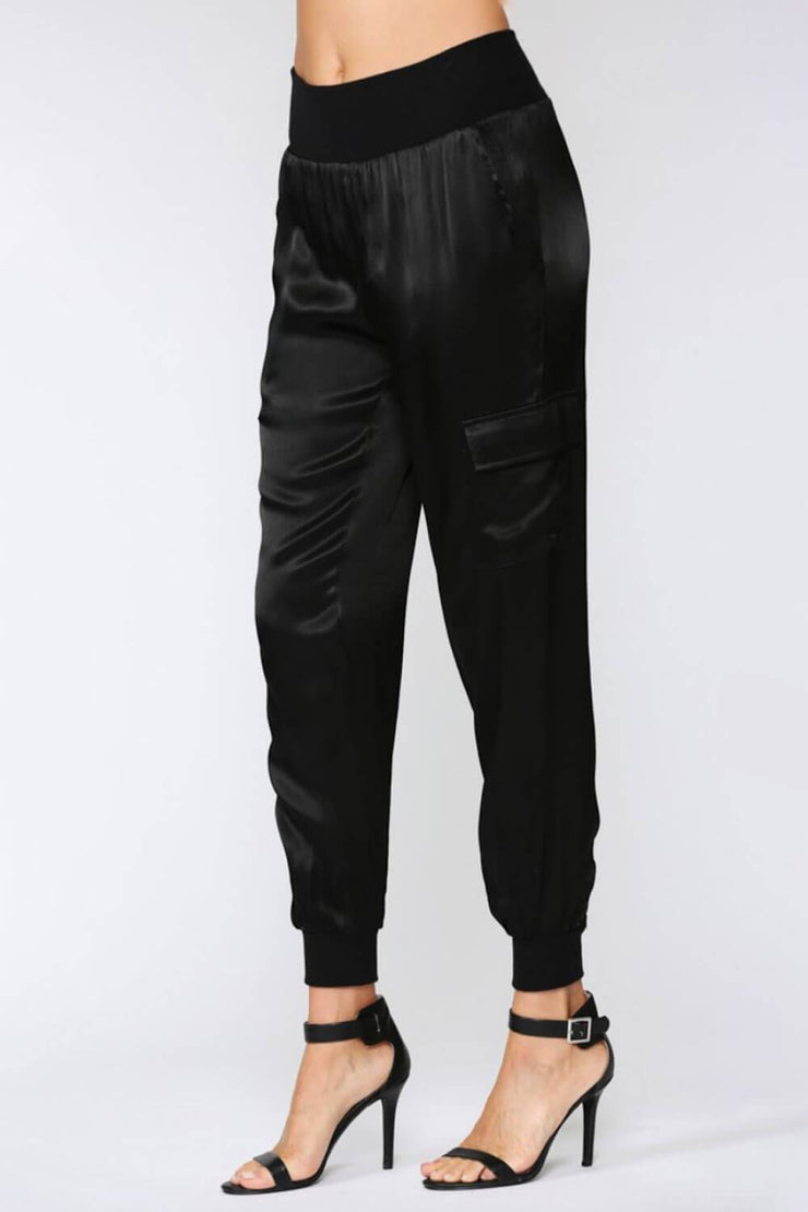 Stain Cargo Joggers black side MILK MONEY