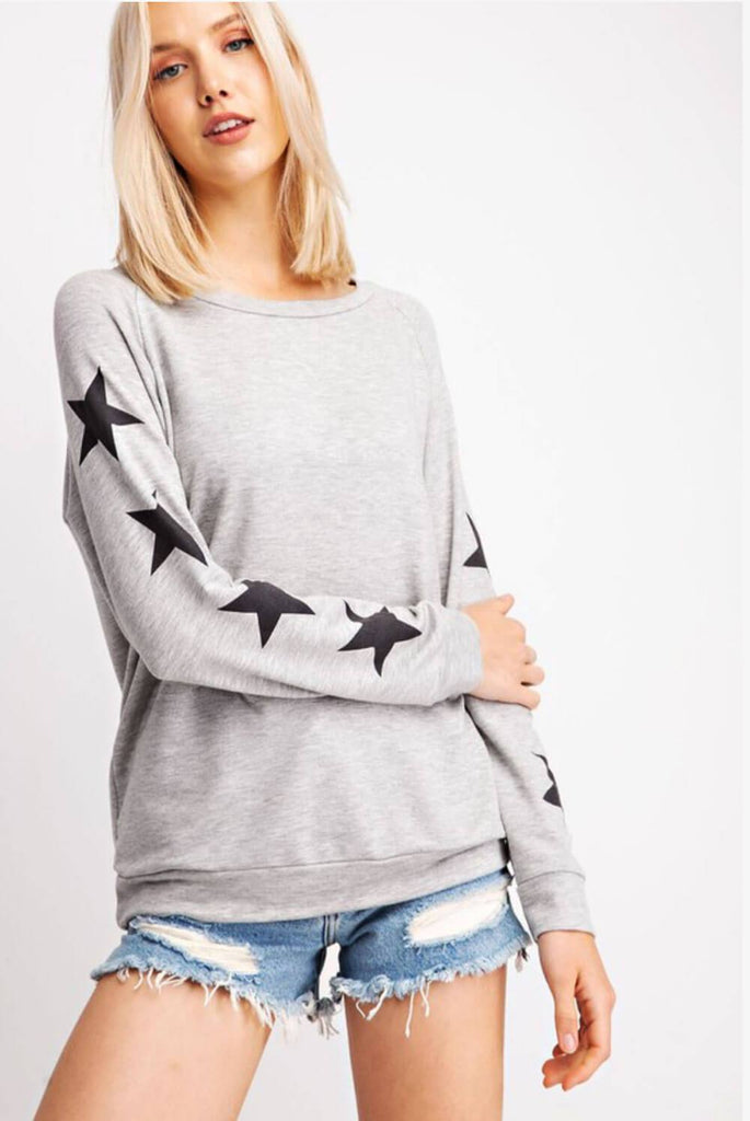 Star Crewneck Sweatshirt Grey _ MILK MONEY