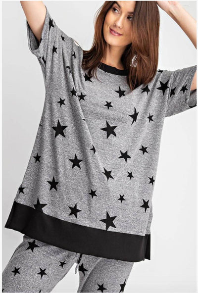 Star Print Oversized Lounge Top grey MILK MONEY
