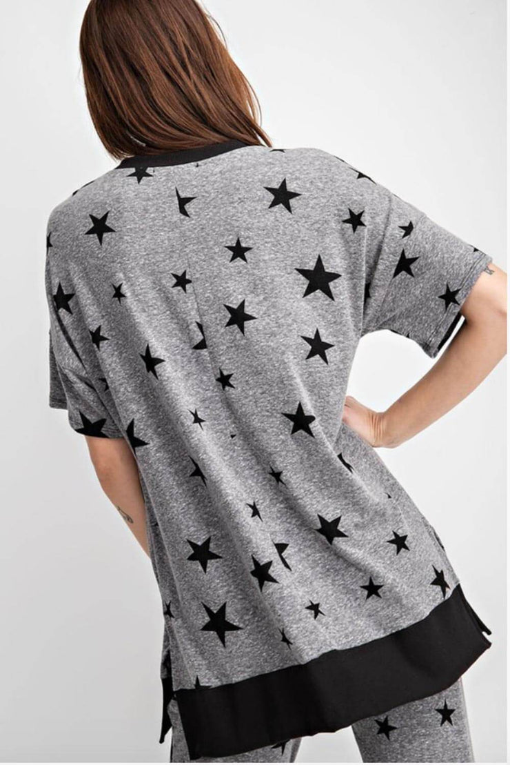 Star Print Oversized Lounge Top grey back MILK MONEY