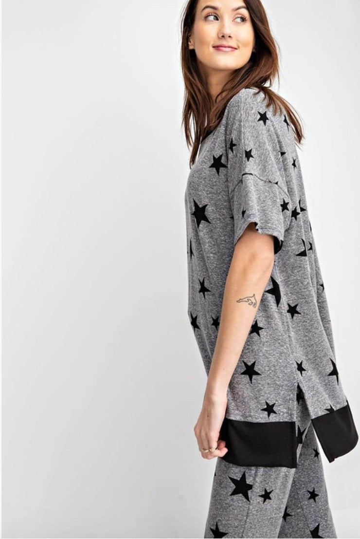 Star Print Oversized Lounge Top grey side MILK MONEY