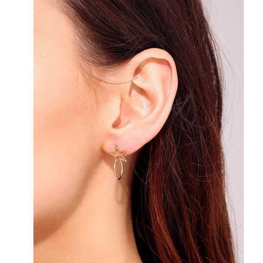 Star Stud Earring Gold Hoop model - MILK MONEY