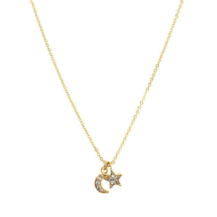 Star & Moon Crystal Charm Necklace gold MILK MONEY
