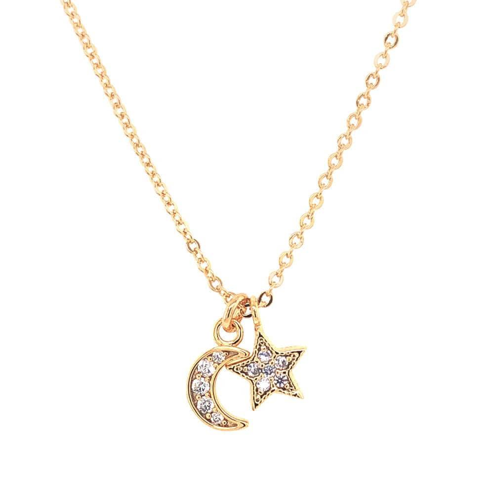 Star & Moon Crystal Charm Necklace gold detail MILK MONEY