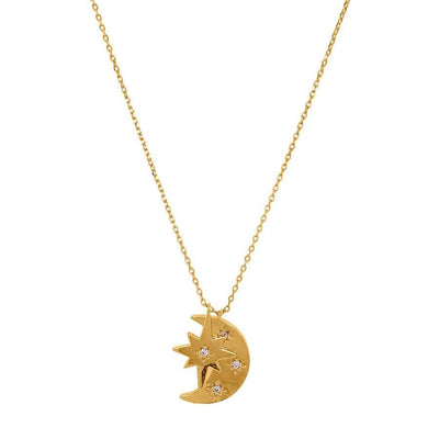 Star and Moon Double Charm Necklace gold front MILK MONEY