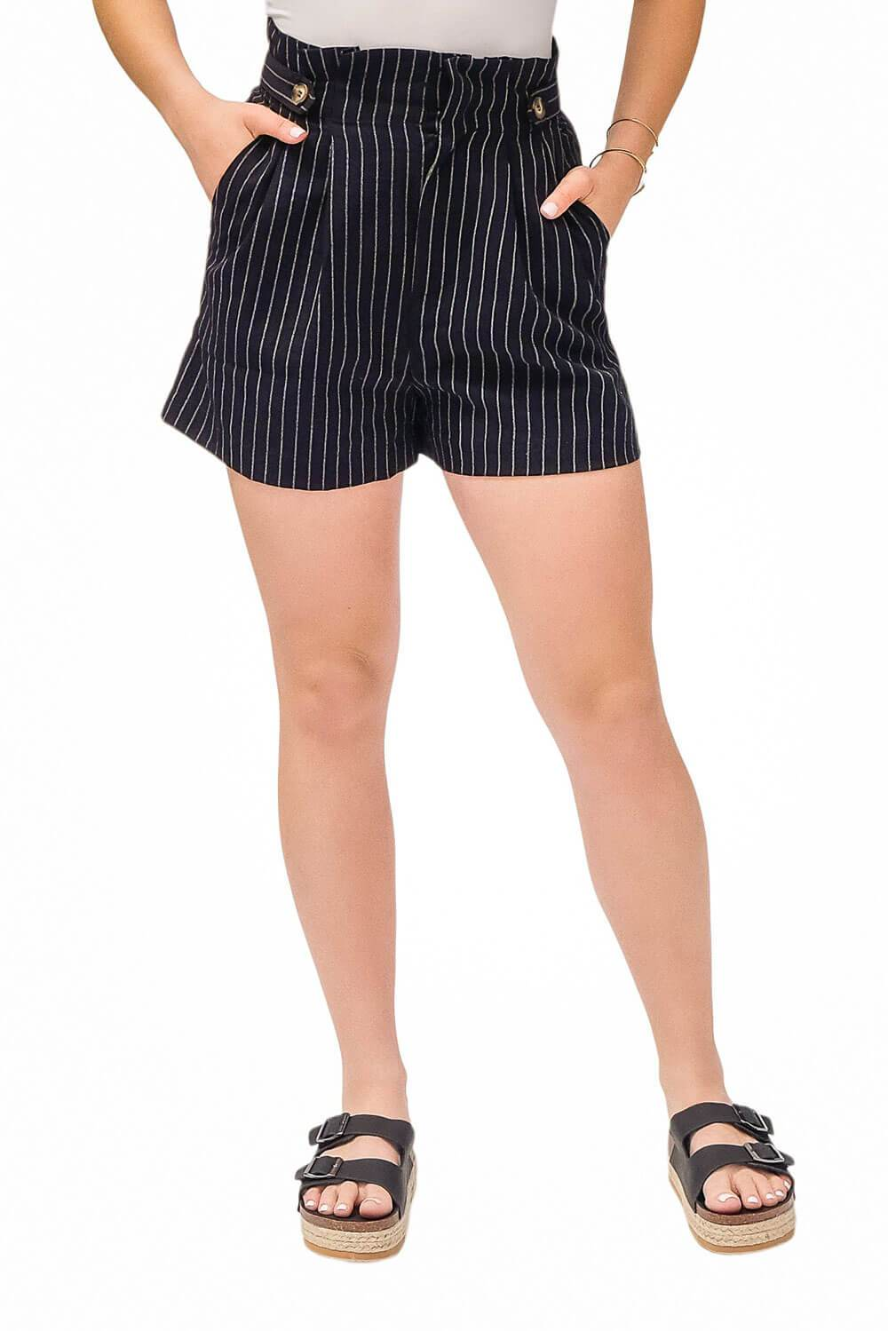 Striped Paperbag Shorts black - MILK MONEY