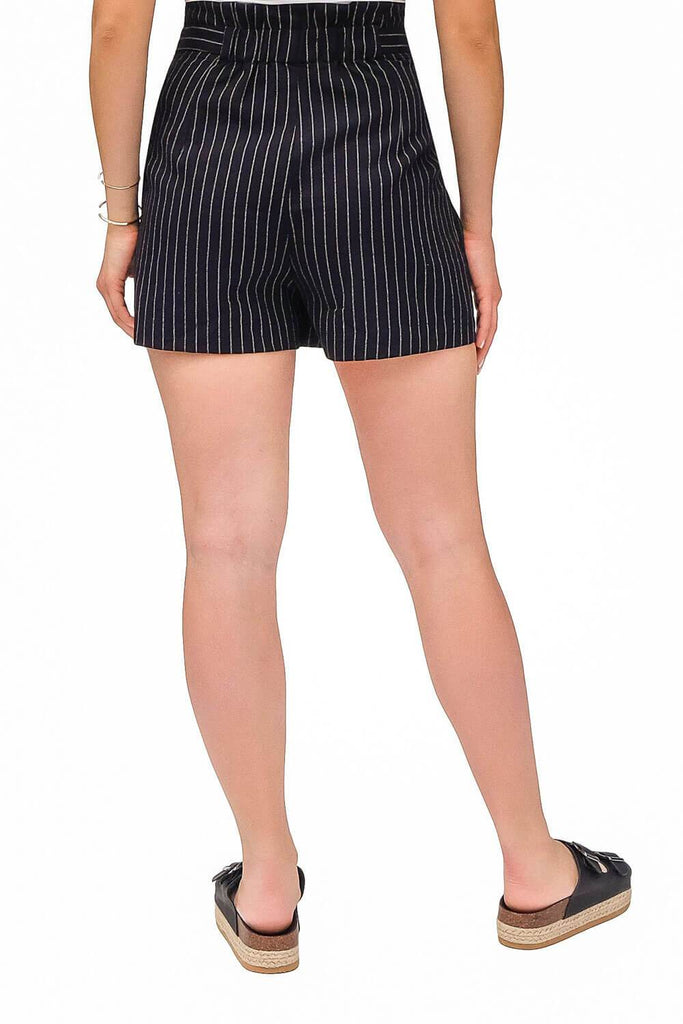 Striped Paperbag Shorts black -back -MILK MONEY