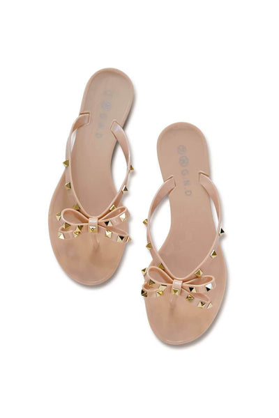 Studded Bow Slip On Beige MILK MONEY