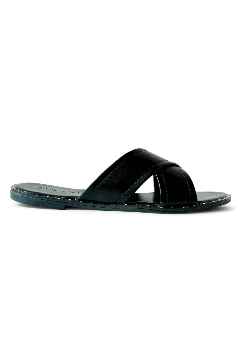 Studded Crossband Slide Sandals