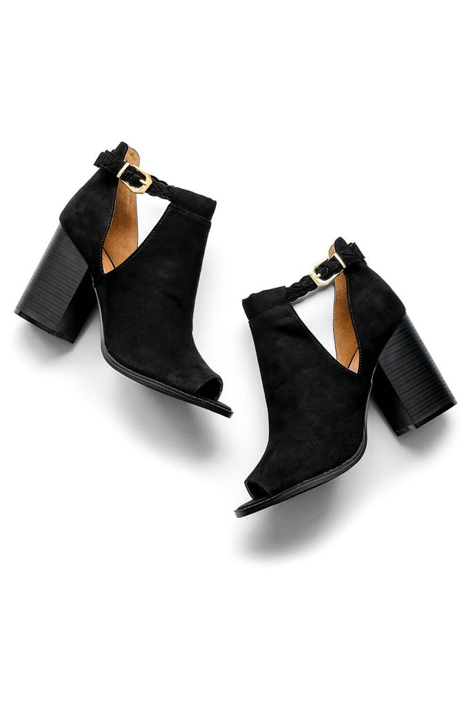 Suede Peep Toe Bootie Black - MILK MONEY