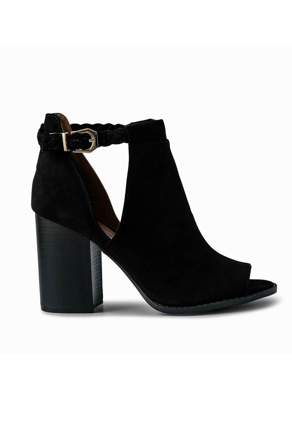 Suede Peep Toe Bootie black - side- MILK MONEY