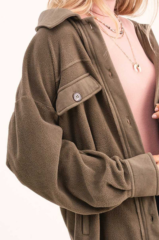 Sunset Fleece Oversized Shirt Jacket olive detail | MILK MONEY | milkmoney.co