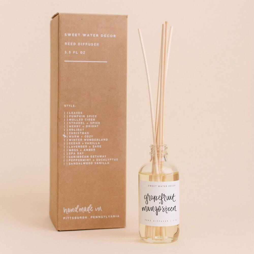 Sweet Water Decor Grapefruit and Mangosteen Reed Diffuser box MILK MONEY