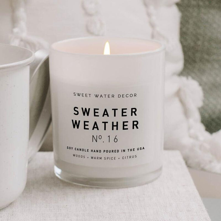 Sweet Water Decor Sweater Weather Soy Candle white lifestyle MILK MONEY