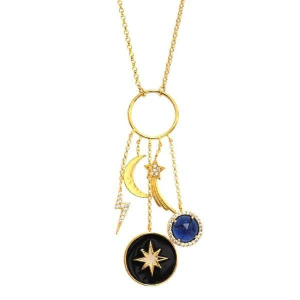 STARRY NIGHT CELESTIAL CHARM NECKLACE by Tai Jewelry
