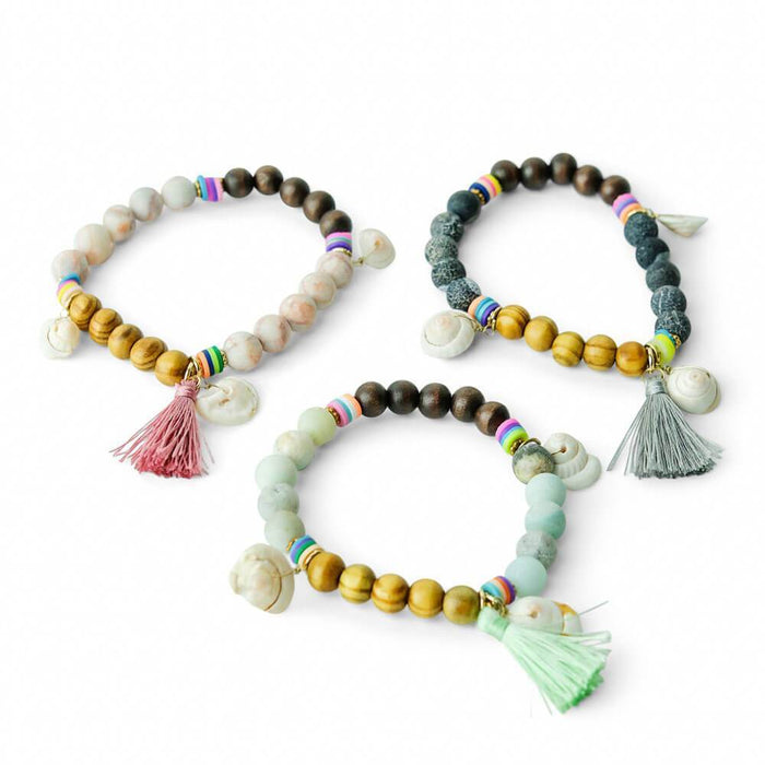Tassel Beaded and Shell Bracelet Stretch group - MILK MONEY