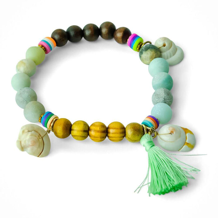 Tassel Beaded and Shell Bracelet Stretch Green -MILK MONEY