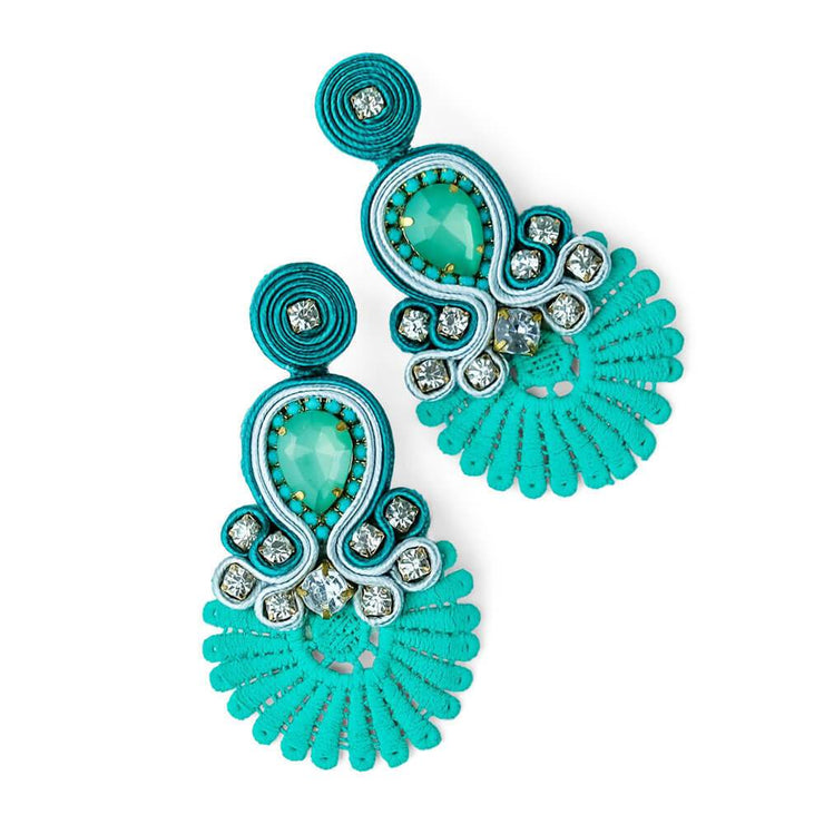 Teal Crystal Fan Earrings - MILK MONEY