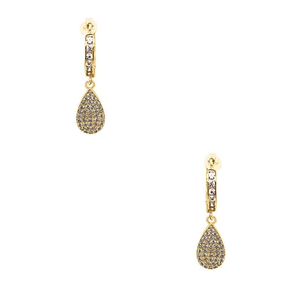Teardrop Pavé Huggie Earring Gold - MILK MONEY