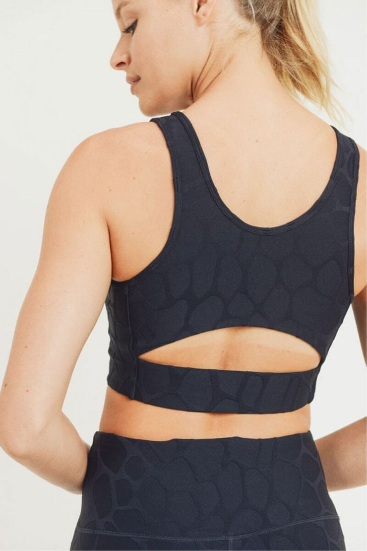 Textured Giraffe Jacquard TACTEL® Cut-Out Back Sports Bra black back detail MILK MONEY