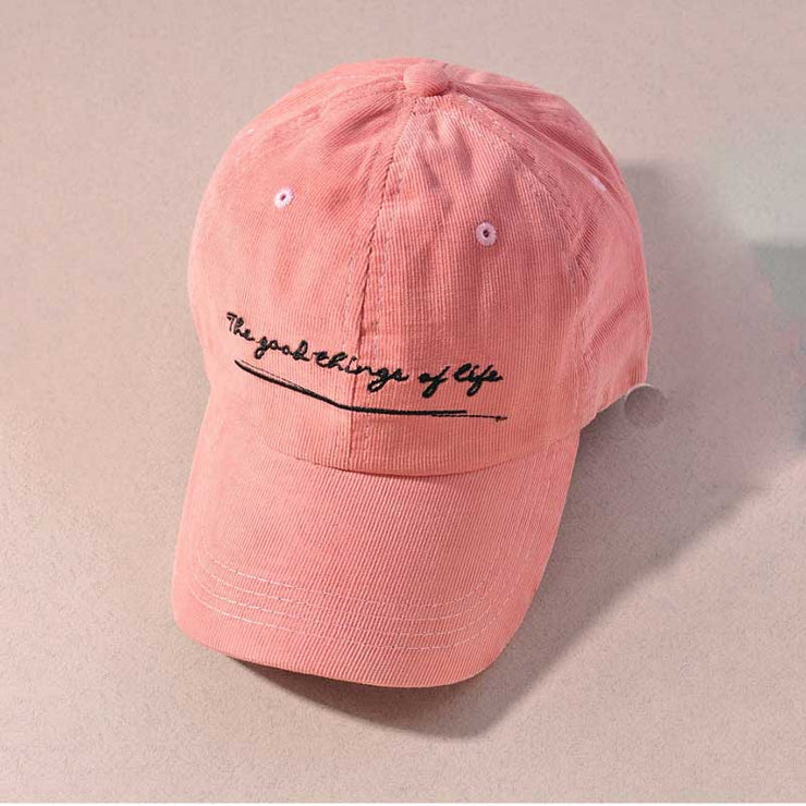 The Best Things In Life Baseball Hat pink front MILK MONEY