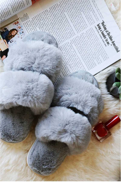 The Coziest Slipper Slides grey top MILK MONEY