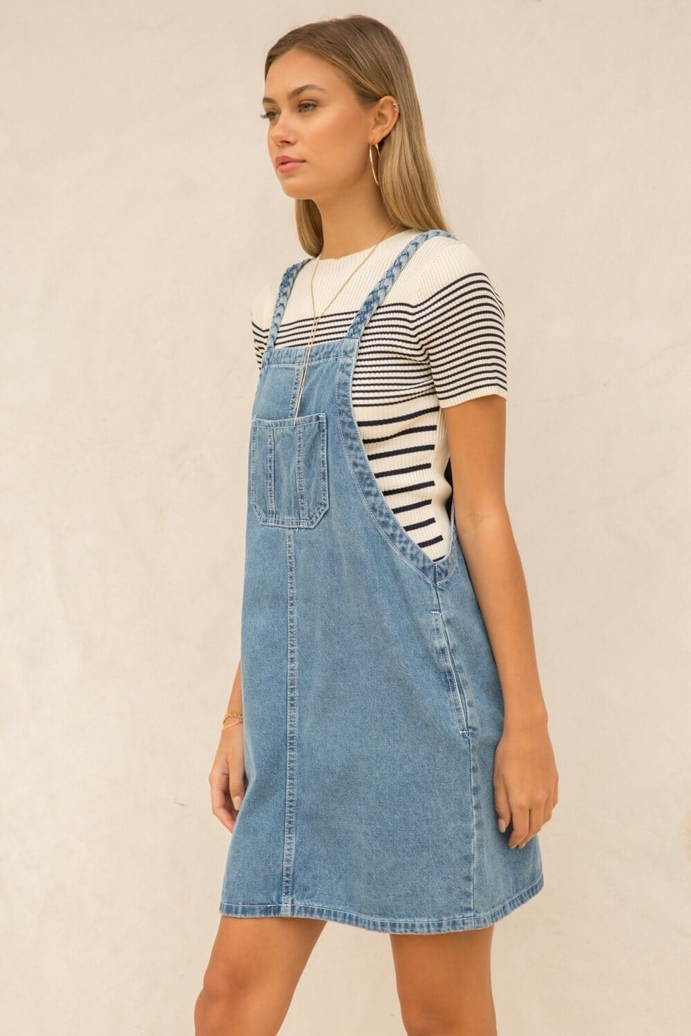 The Dolly Denim Dress blue side MILK MONEY