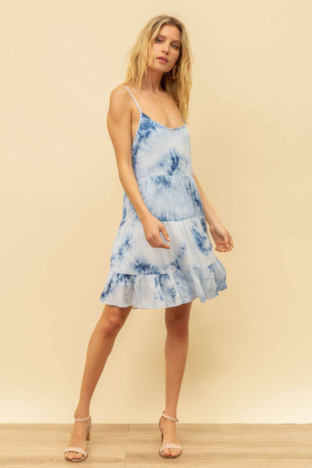 Tie Dye Cami Mini Dress blue full MILK MONEY