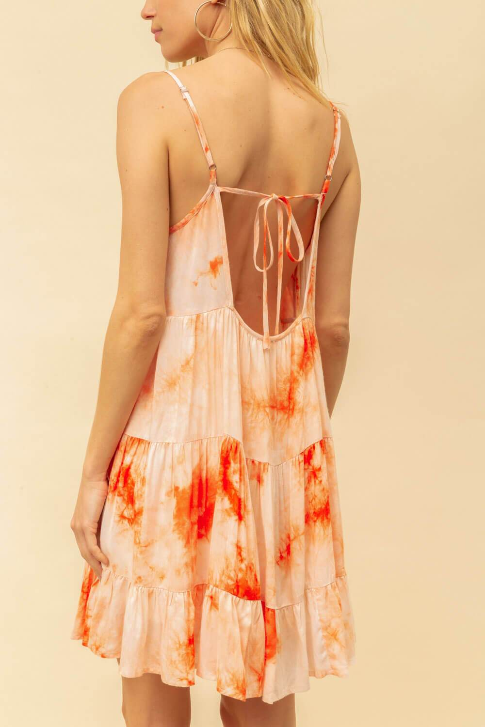 Tie Dye Cami Mini Dress orange back MILK MONEY