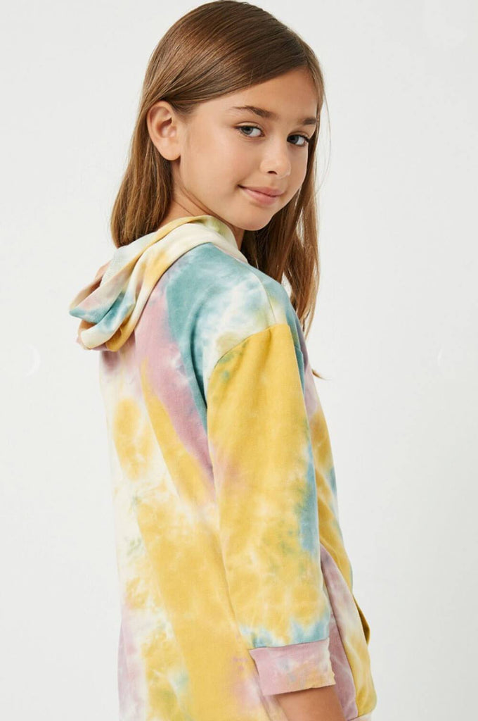 Tie-Dye Drop Shoulder Hoodie pink back MILK MONEY Kids
