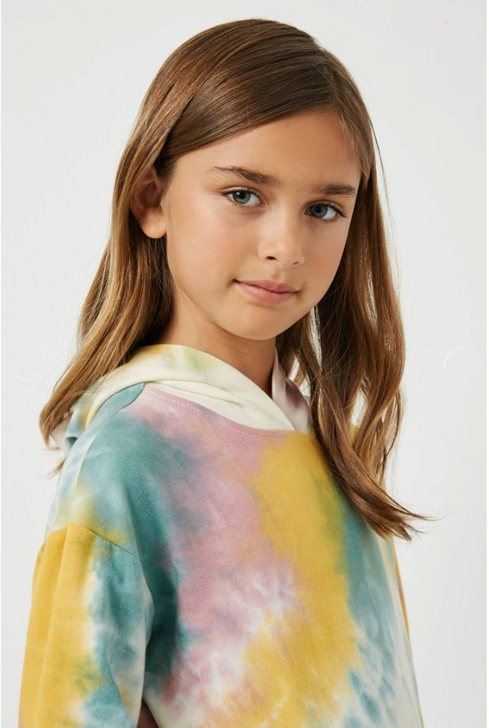 Tie-Dye Drop Shoulder Hoodie pink detail MILK MONEY Kids