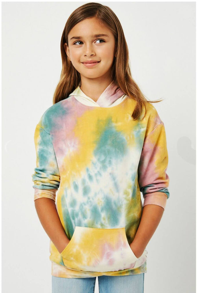 Tie-Dye Drop Shoulder Hoodie pink front MILK MONEY kids