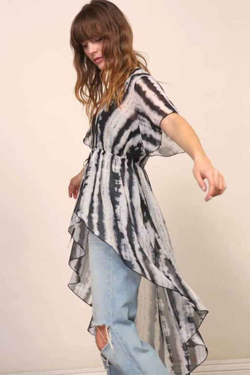 Tie Dye Kimono Cover Up black white side | MILK MONEY milkmoney.co | swimsuit cover up. bathing suit cover ups. womens swimsuit coverups. womens beach cover ups. swimsuit coverups. pool cover ups.
