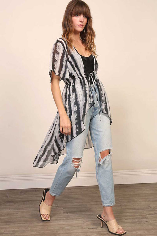 Tie Dye Kimono Cover Up black white front | MILK MONEY milkmoney.co | swimsuit cover up. bathing suit cover ups. womens swimsuit coverups. womens beach cover ups. swimsuit coverups. pool cover ups.