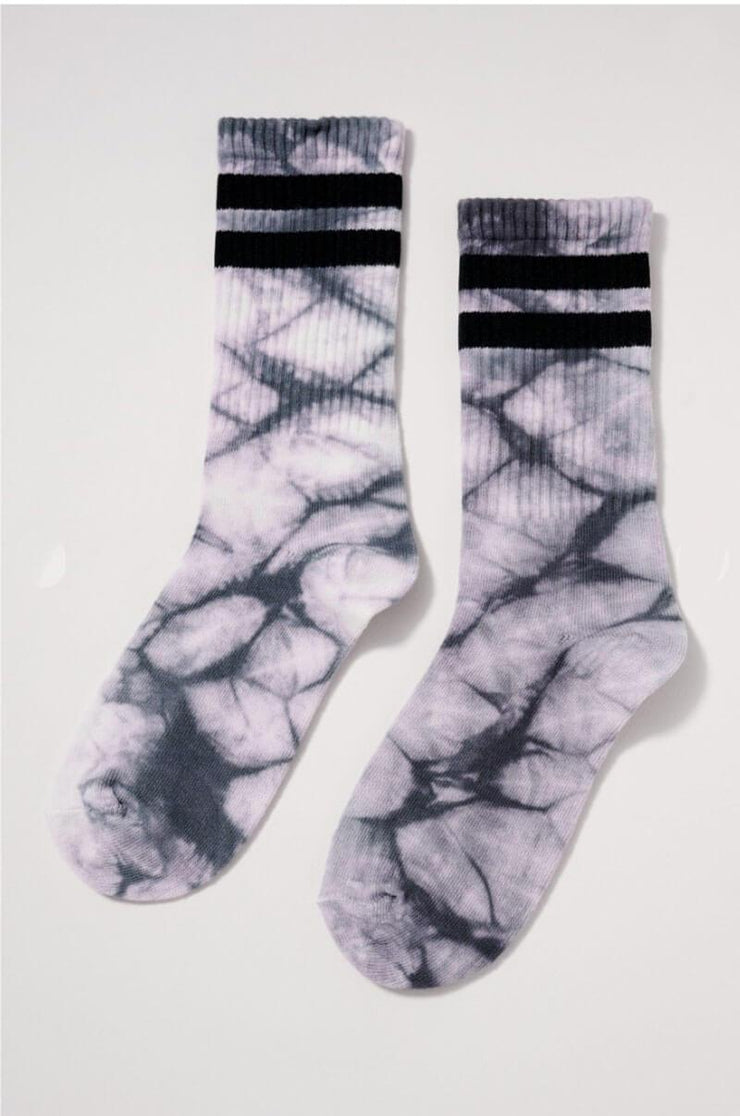 Tie Dye Sports Crew Socks grey front MILK MONEY