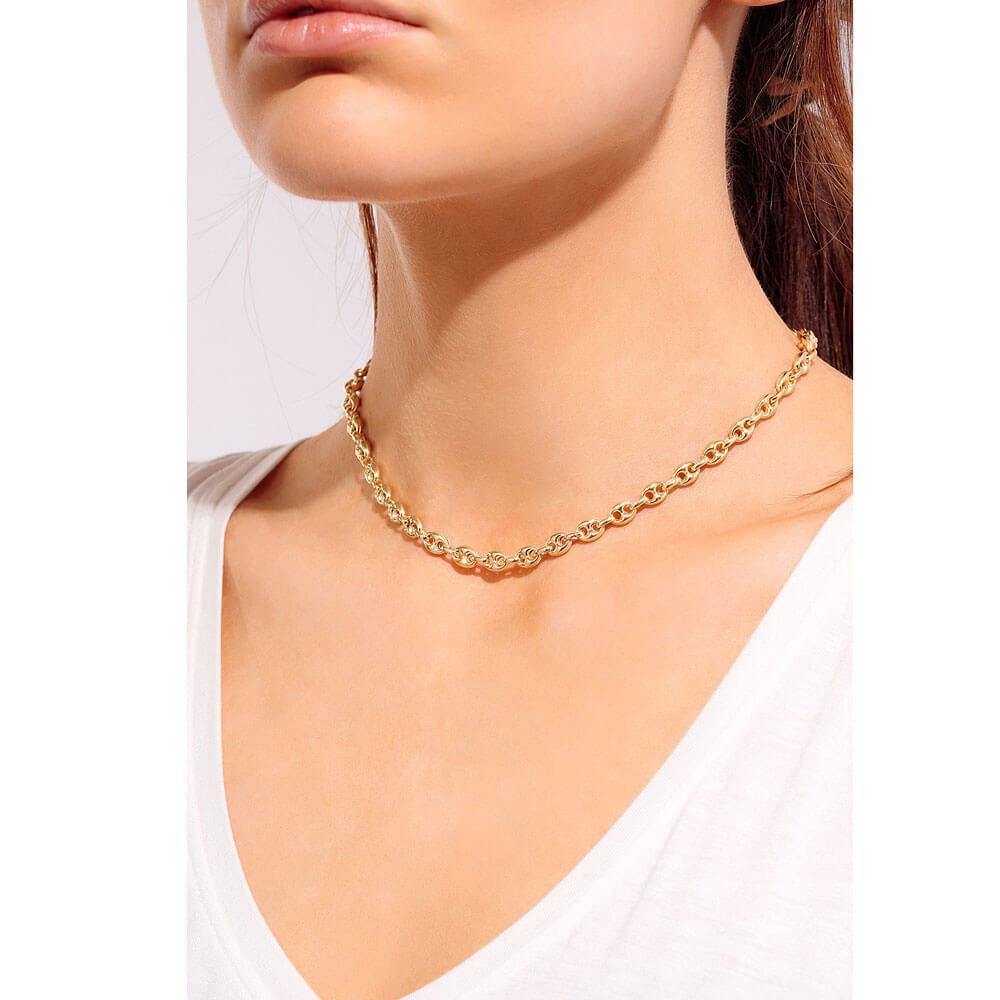 Tiny Glam Hollow Puff Chain Necklace Gold model - MILK MONEY