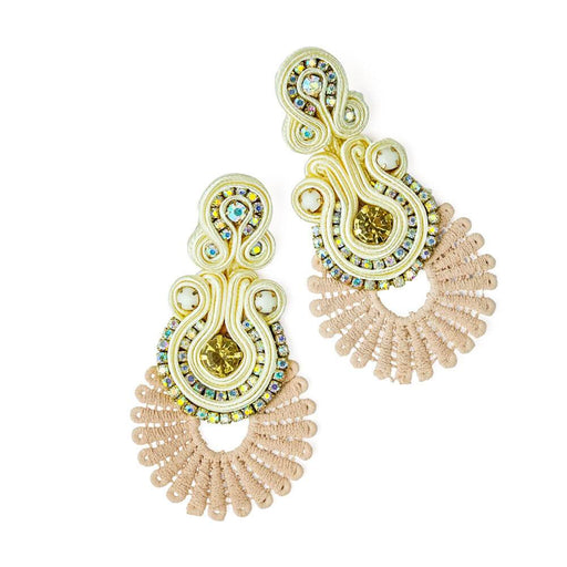 Treasure Jewels Fan Royal Earrings -cream -MILK MONEY