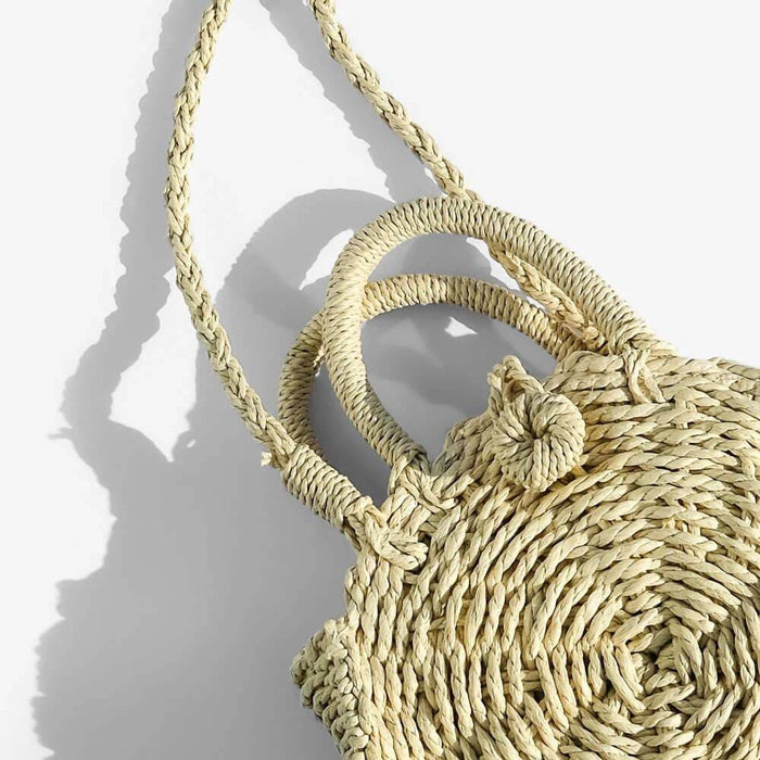Tula Mini Woven Circle Crossbody natural close up - MILK MONEY