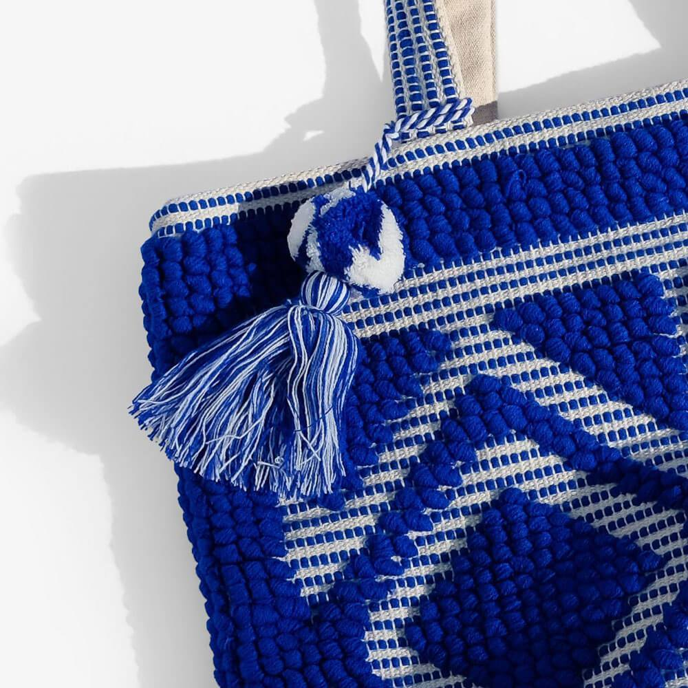 Tulum Fabric Tote Blue close up - MILK MONEY