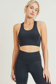 Twin Straps Racerback Sports Bra black front MILK MONEY