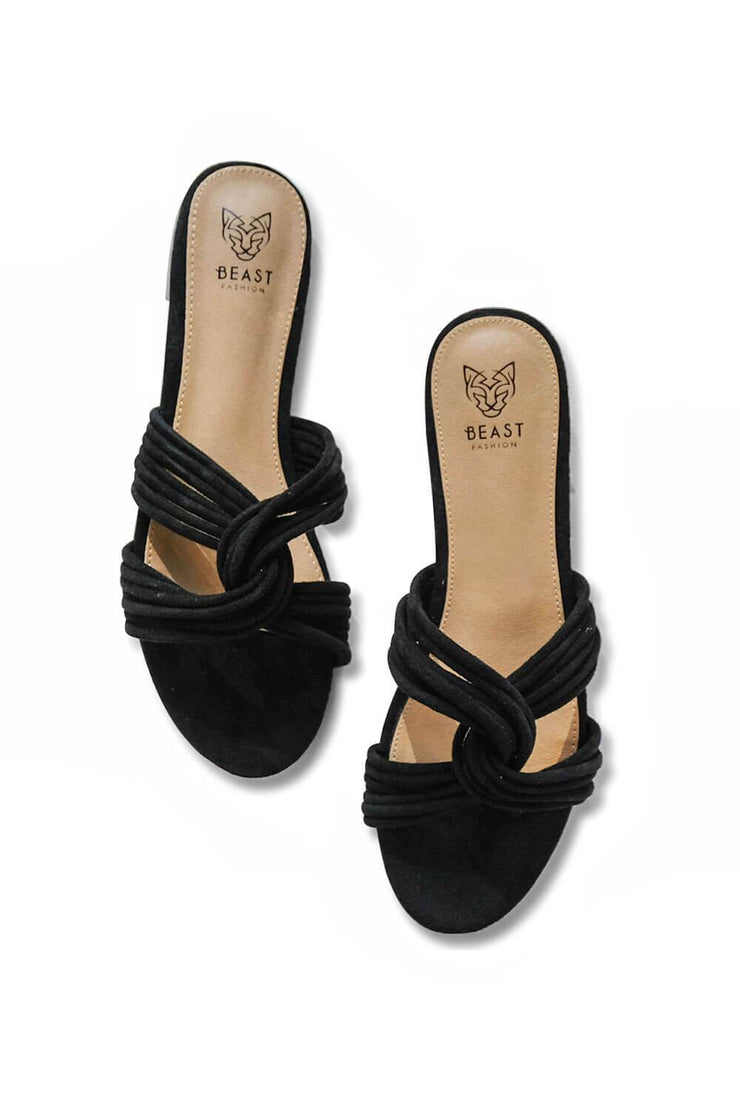 Twist Me Up Wrap Sandal Black - MILK MONEY