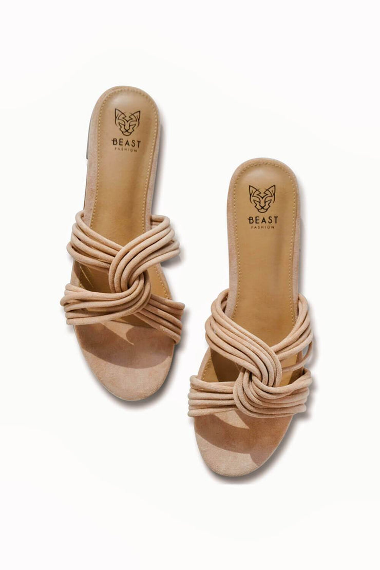 Twist Me Up Wrap Sandal Taupe - MILK MONEY