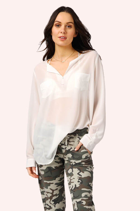 V-neck 2 Pocket Long Sleeve Flowy Top White MILK MONEY