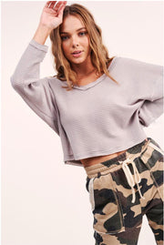 Verona Waffle V-Neck Top grey MILK MONEY