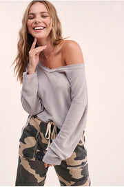 Verona Waffle V-Neck Top grey front MILK MONEY