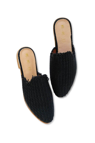 Vivi Woven Mule Flat Black MILK MONEY